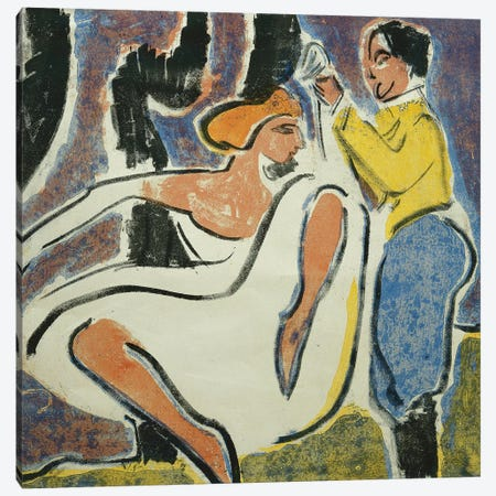 Russian Couple Dancing (Russisches Tanzerpaar), 1909  Canvas Print #BMN5788} by Ernst Ludwig Kirchner Canvas Artwork