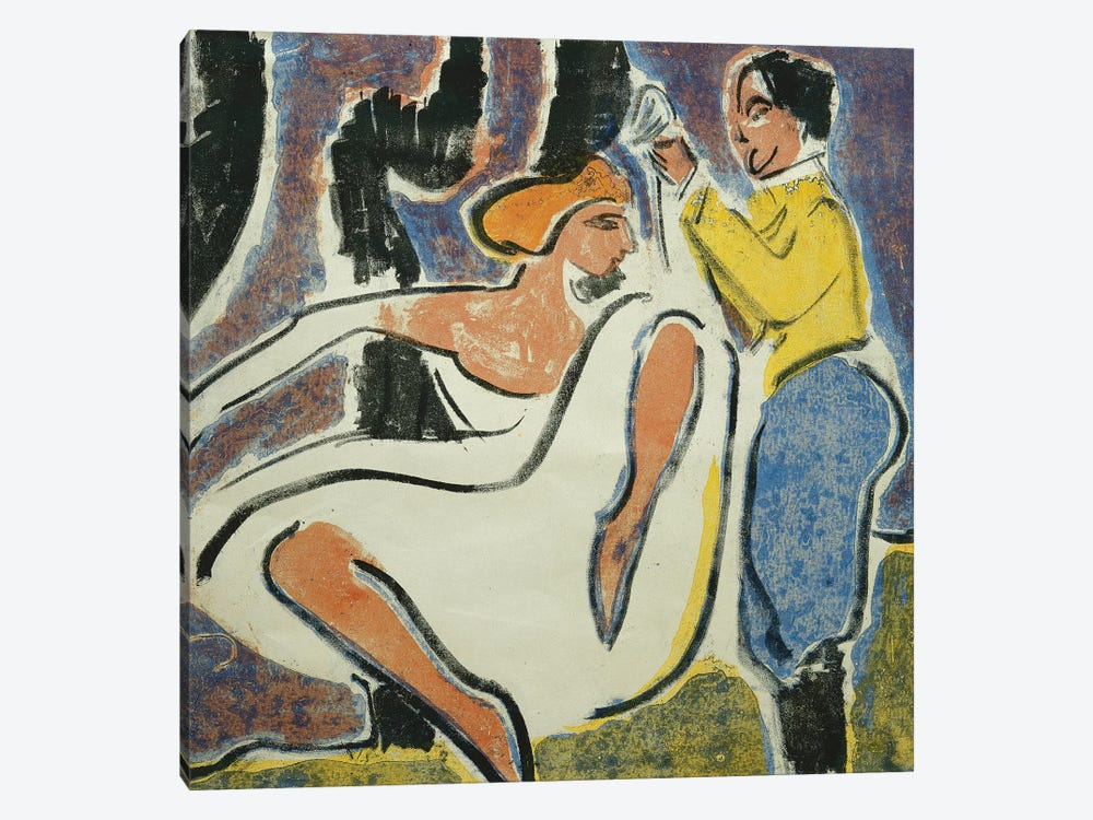 Russian Couple Dancing (Russisches Tanzerpaar), 1909  by Ernst Ludwig Kirchner 1-piece Canvas Artwork