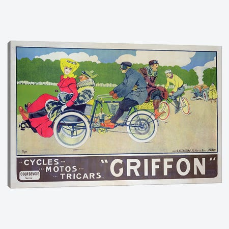 Griffon Cycles, Motos & Tricars Advertisement Canvas Print #BMN578} by Walter Thor Canvas Artwork