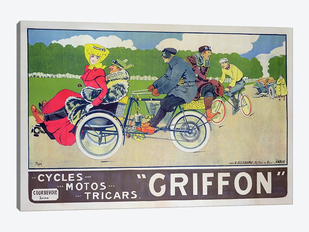 Griffon Cycles, Motos & Tricars Advertisement by Walter Thor 1-piece Canvas Artwork