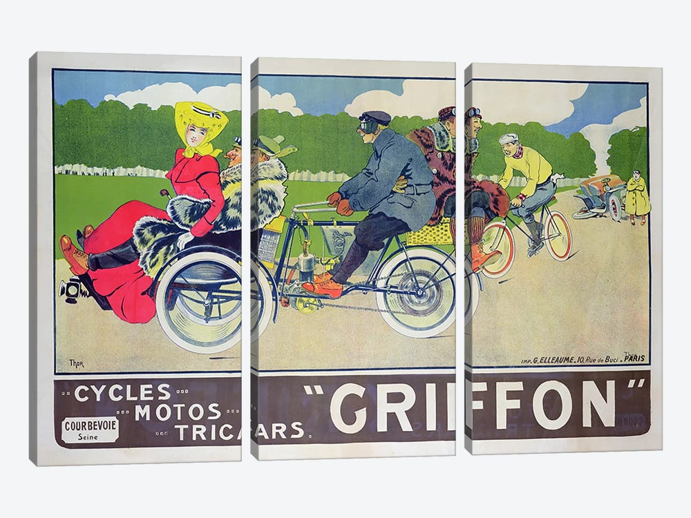 Griffon Cycles, Motos & Tricars Advertisement by Walter Thor 3-piece Canvas Wall Art
