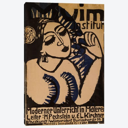 Poster Institute Muim (Plakat Muim Institut), 1911  Canvas Print #BMN5791} by Ernst Ludwig Kirchner Canvas Art Print