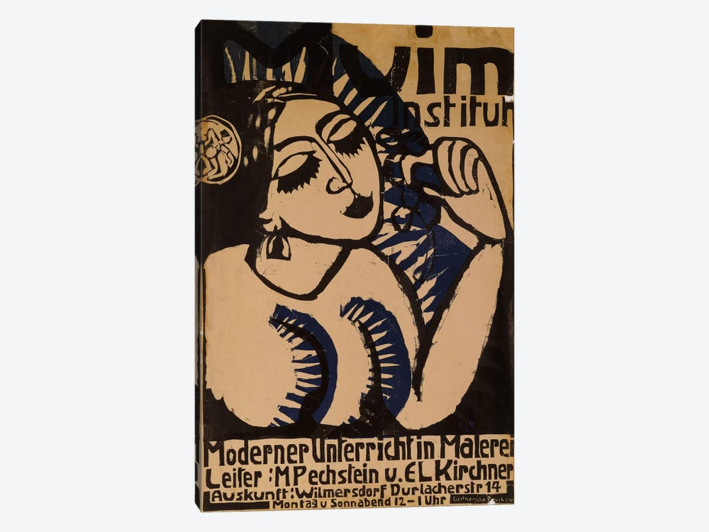 Poster Institute Muim (Plakat Muim Institut), 1911  by Ernst Ludwig Kirchner 1-piece Canvas Wall Art
