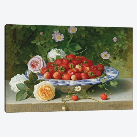 Strawberries in a Blue and White Buckelteller with Roses and Sweet Briar on a Ledge, 1871  Canvas Print #BMN5794} by William Hammer Canvas Wall Art