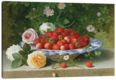 Strawberries in a Blue and White Buckelteller with Roses and Sweet Briar on a Ledge, 1871  Canvas Art Print