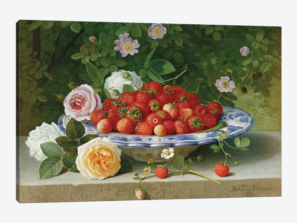 Strawberries in a Blue and White Buckelteller with Roses and Sweet Briar on a Ledge, 1871  by William Hammer 1-piece Canvas Print