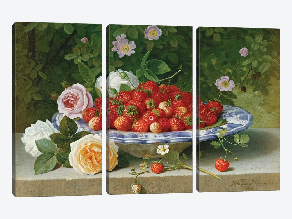 Strawberries in a Blue and White Buckelteller with Roses and Sweet Briar on a Ledge, 1871  by William Hammer 3-piece Canvas Print