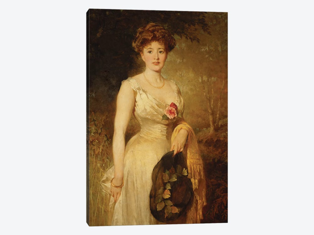 Portrait of a Lady in a White Dress, 1909  by George Elgar Hicks 1-piece Canvas Artwork
