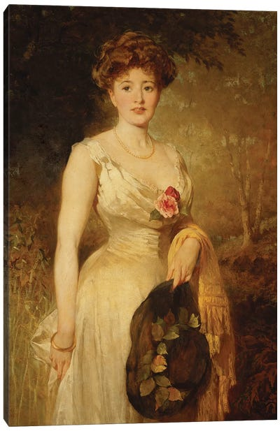 Portrait of a Lady in a White Dress, 1909  Canvas Art Print