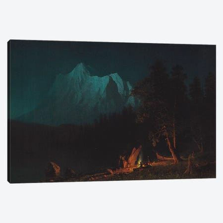 Mountainous Landscape by Moonlight  Canvas Print #BMN5804} by Albert Bierstadt Canvas Wall Art
