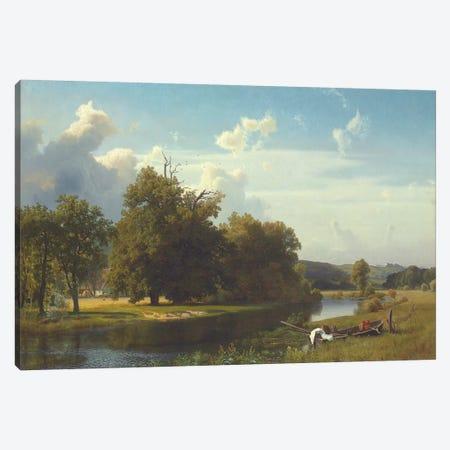 A river landscape, Westphalia, 1855  Canvas Print #BMN5805} by Albert Bierstadt Canvas Wall Art