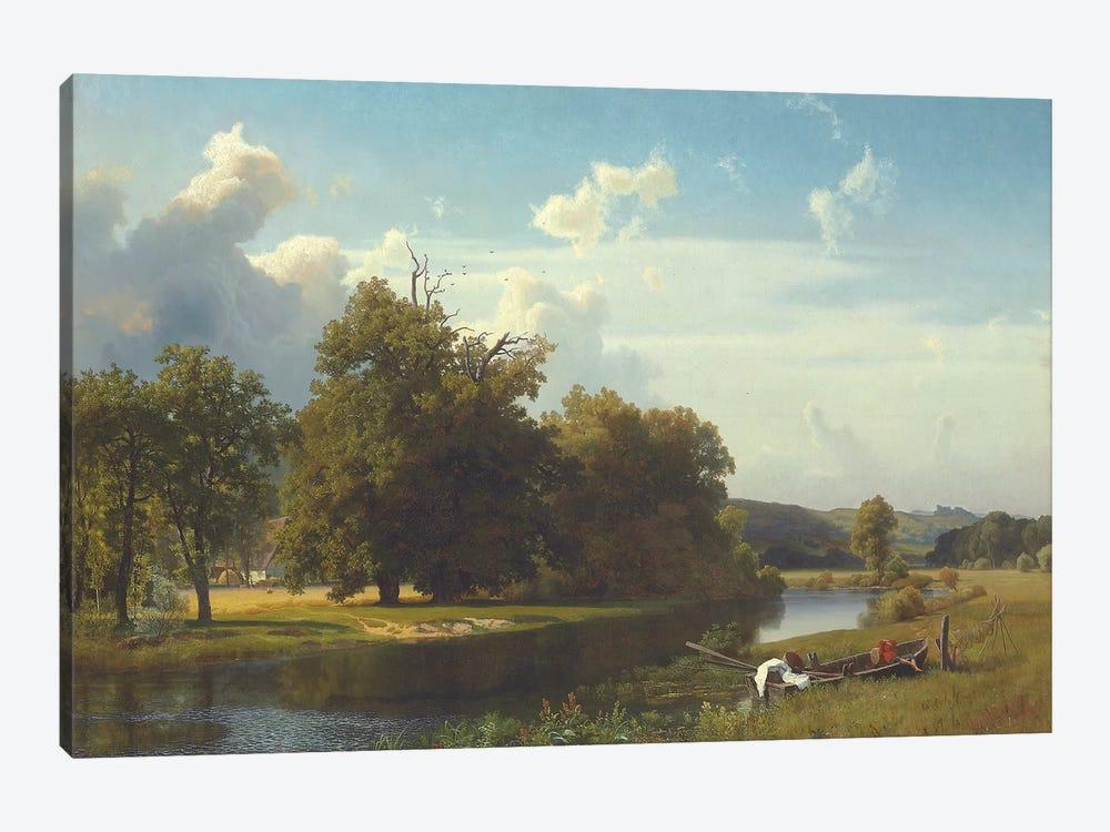 A river landscape, Westphalia, 1855  by Albert Bierstadt 1-piece Canvas Print
