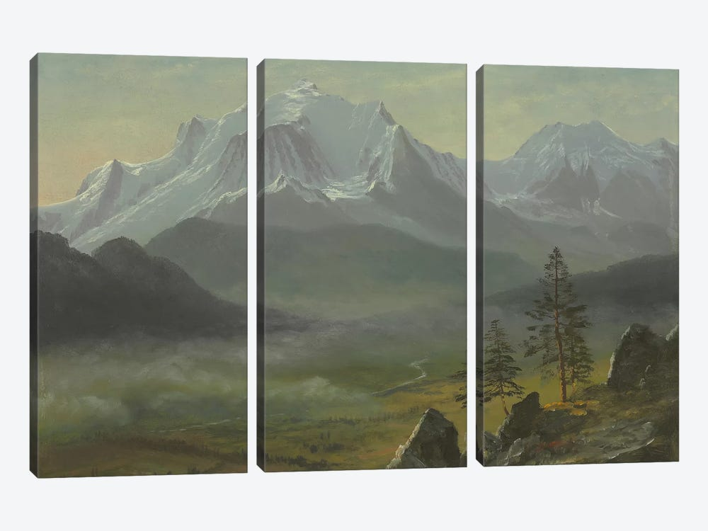 Mont Blanc  by Albert Bierstadt 3-piece Canvas Art