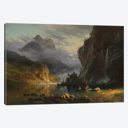 Indians spear fishing, 1862  Canvas Print #BMN5817} by Albert Bierstadt Canvas Print