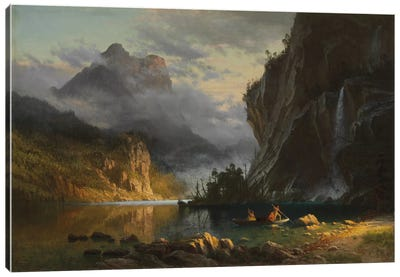 Indians spear fishing, 1862 by Albert Bierstadt Canvas Print