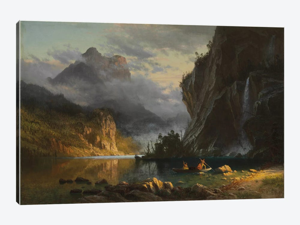 Indians spear fishing, 1862  by Albert Bierstadt 1-piece Canvas Wall Art