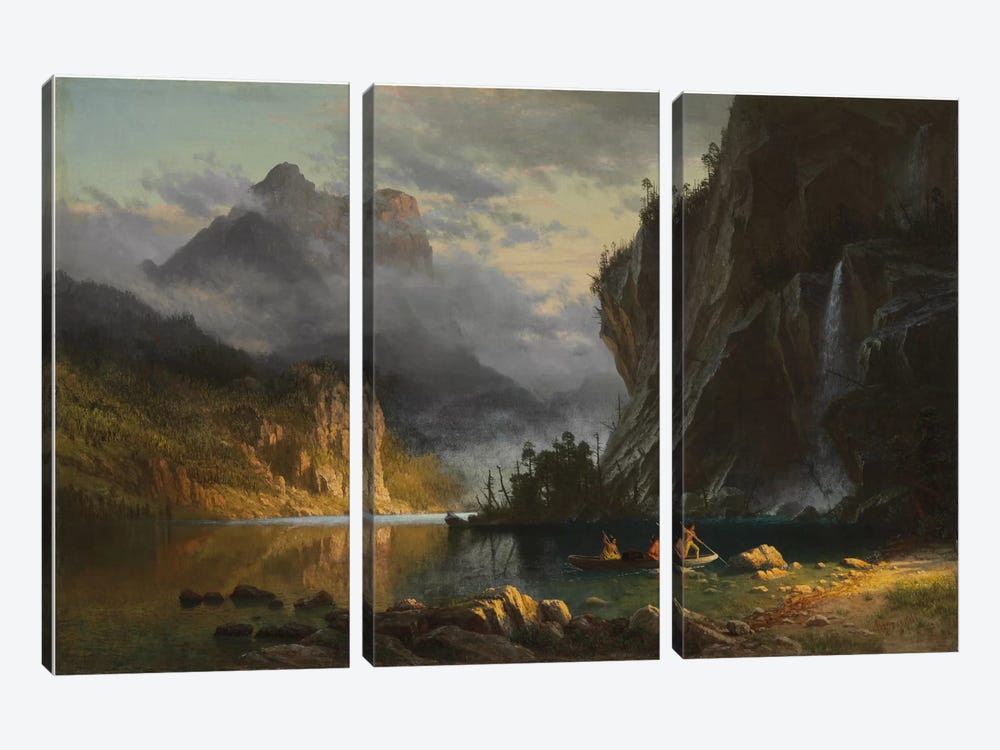 Indians spear fishing, 1862  by Albert Bierstadt 3-piece Canvas Art