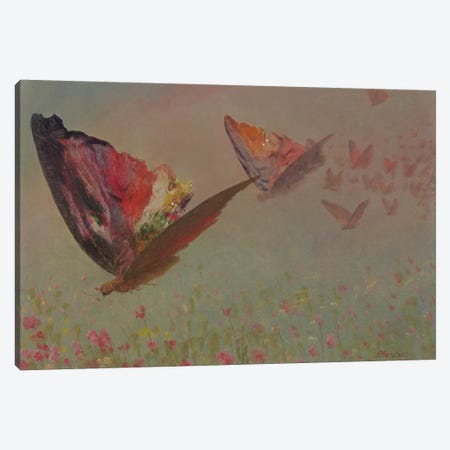 Butterflies with Riders  Canvas Print #BMN5819} by Albert Bierstadt Canvas Wall Art