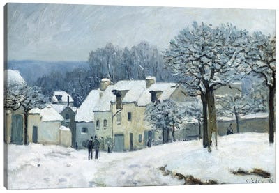 The Place du Chenil at Marly-le-Roi, Snow, 1876  Canvas Art Print