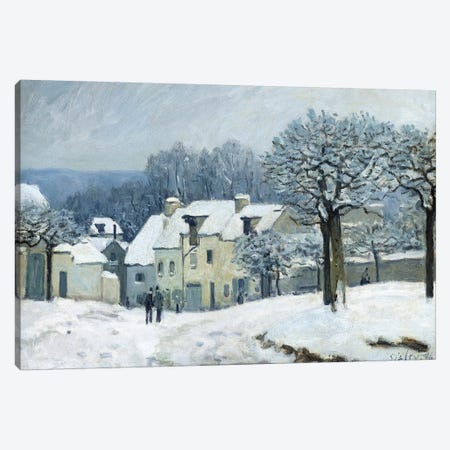 The Place du Chenil at Marly-le-Roi, Snow, 1876  3-Piece Canvas #BMN581} by Alfred Sisley Canvas Print
