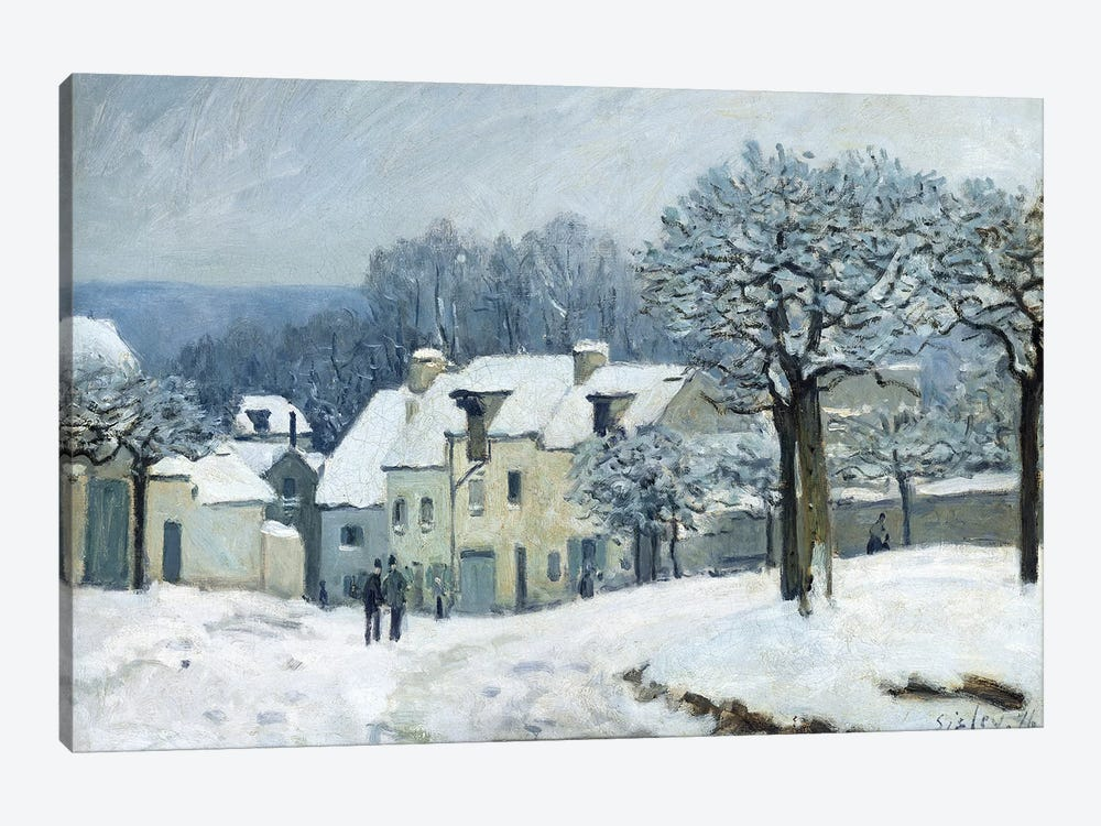 The Place du Chenil at Marly-le-Roi, Snow, 1876  by Alfred Sisley 1-piece Canvas Wall Art