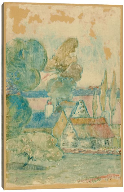 Les Chaumieres by Paul Gauguin Canvas Wall Art