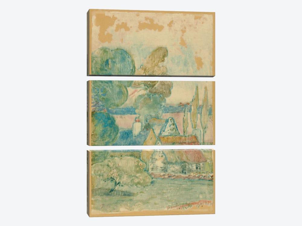 Les Chaumieres  by Paul Gauguin 3-piece Canvas Artwork