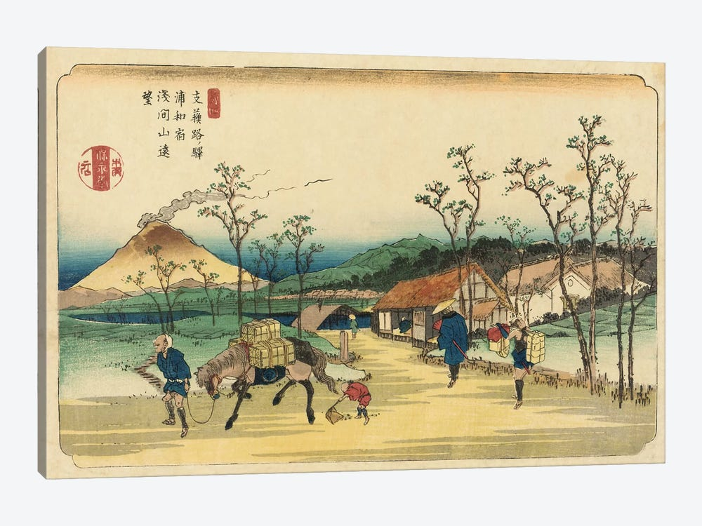 Distant View of Mount Asama from Urawa Station, Station 4 from the series 'Stytations of the Kiso Road'  by Keisai Eisen 1-piece Canvas Print