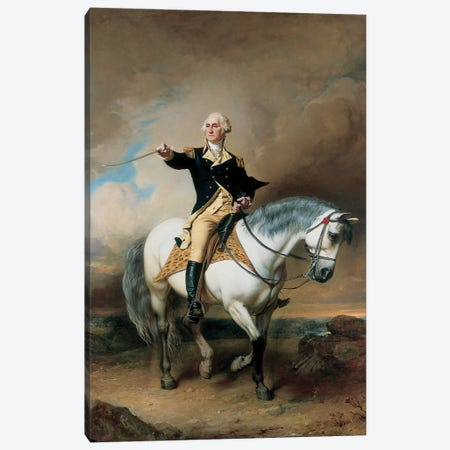 Portrait of George Washington Taking The Salute At Trenton  Canvas Print #BMN5828} by John Faed Canvas Art Print