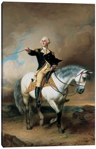Portrait of George Washington Taking The Salute At Trenton  Canvas Art Print