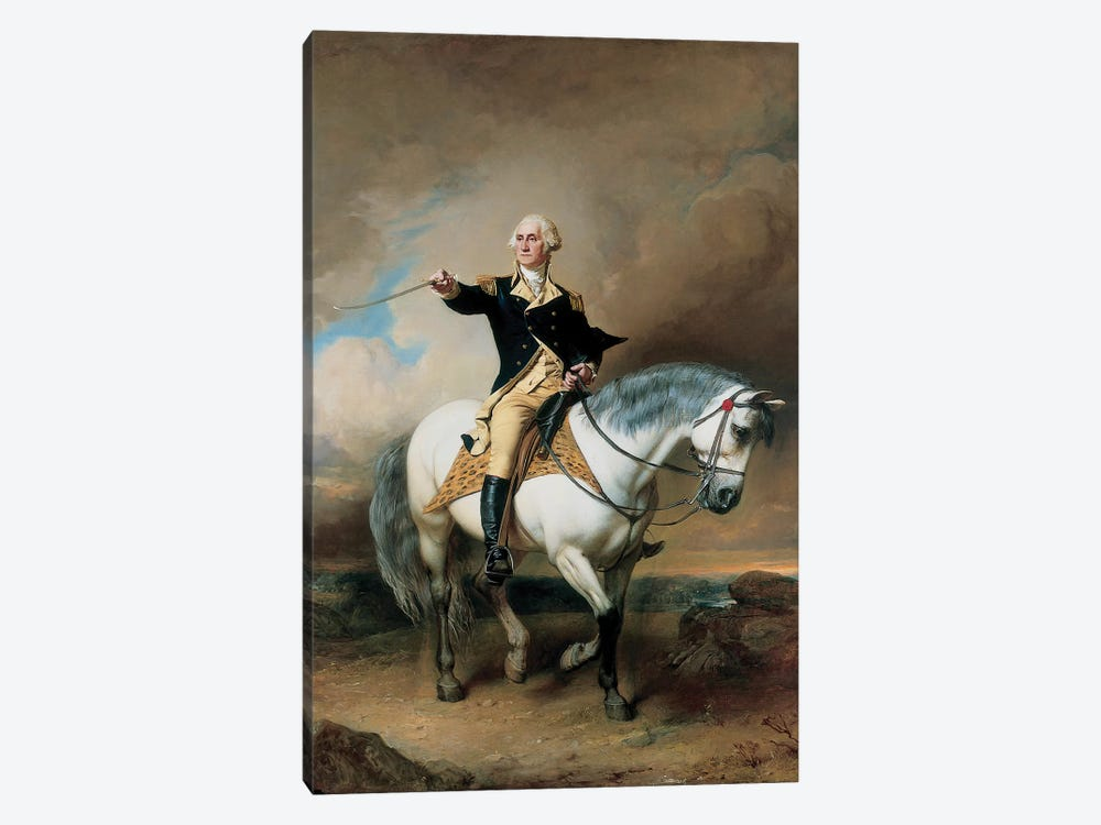 Portrait of George Washington Taking The Salute At Trenton  by John Faed 1-piece Canvas Art