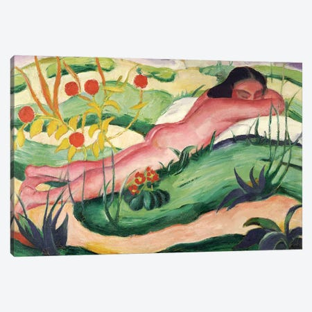Nude Lying in the Flowers, 1910  Canvas Print #BMN5830} by Franz Marc Canvas Art