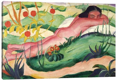 Nude Lying in the Flowers, 1910  Canvas Art Print