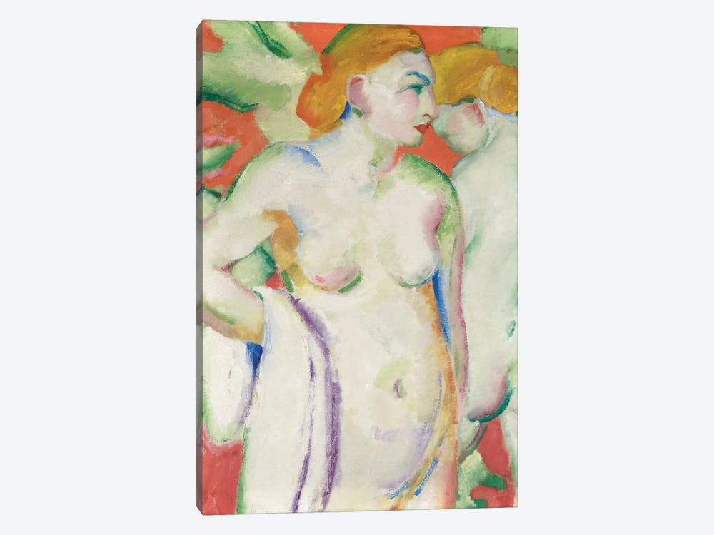 Nudes in Cinnabar  by Franz Marc 1-piece Canvas Wall Art