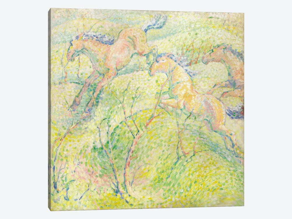 Jumping Horses, 1910  by Franz Marc 1-piece Canvas Print
