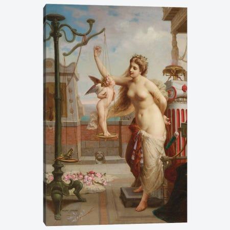 Weighing Cupid  Canvas Print #BMN5837} by Henri Pierre Picou Art Print