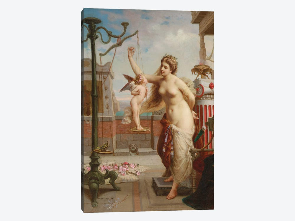 Weighing Cupid by Henri Pierre Picou 1-piece Canvas Artwork