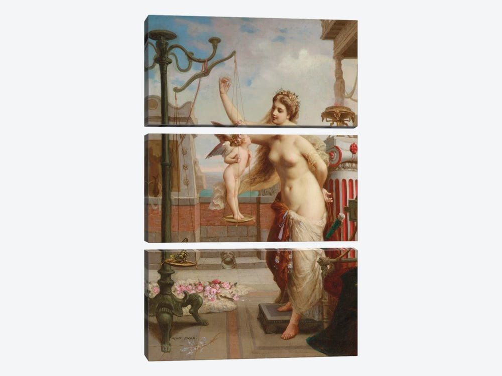 Weighing Cupid by Henri Pierre Picou 3-piece Canvas Art