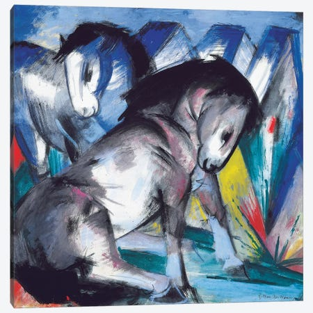 Two Horses, 1913  Canvas Print #BMN5838} by Franz Marc Canvas Art