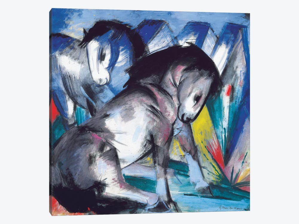 Two Horses, 1913  by Franz Marc 1-piece Art Print