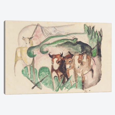 Animals in a landscape  Canvas Print #BMN5840} by Franz Marc Canvas Art Print
