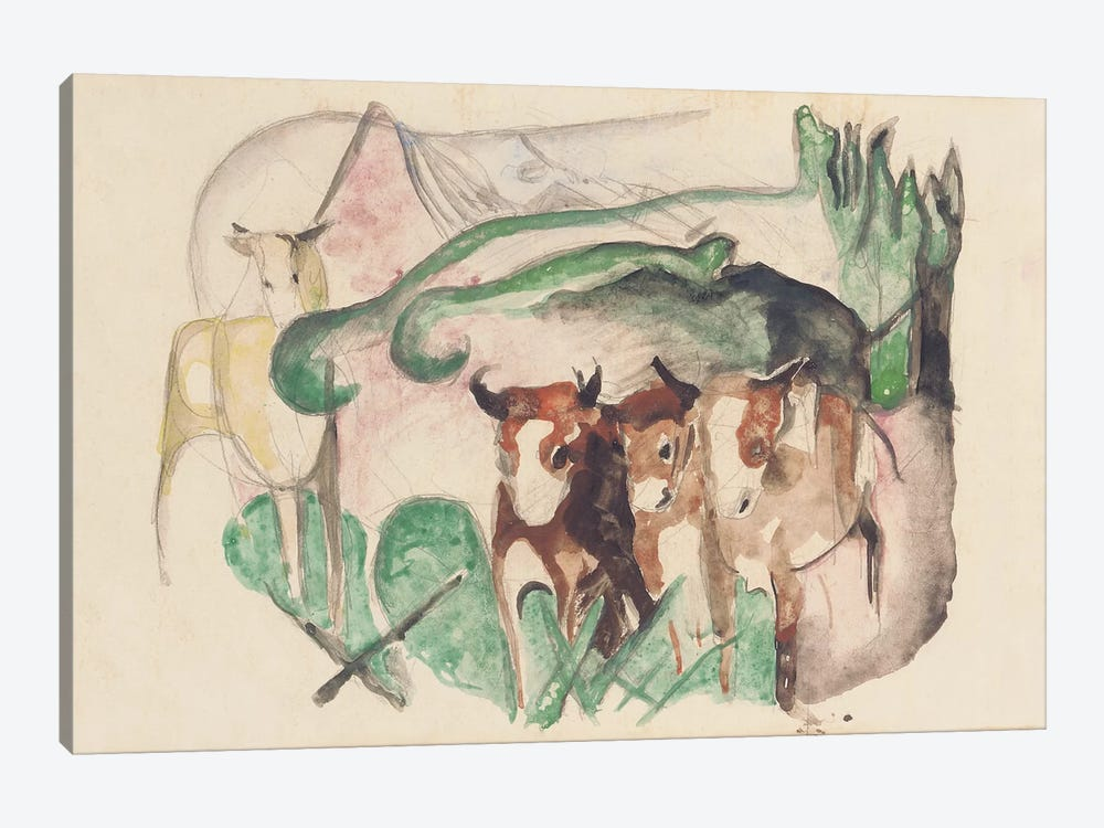 Animals in a landscape  by Franz Marc 1-piece Canvas Art