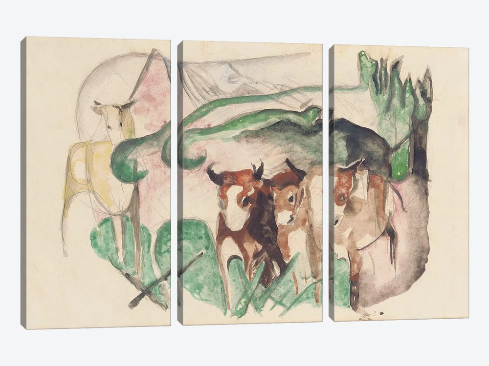 Animals in a landscape  by Franz Marc 3-piece Canvas Wall Art