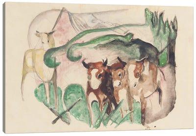 Animals in a landscape  Canvas Art Print