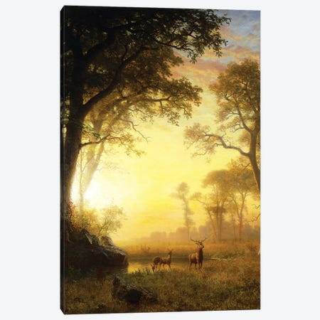 Light in the Forest,  Canvas Print #BMN5850} by Albert Bierstadt Canvas Artwork