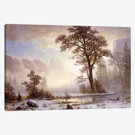 Valley of the Yosemite -Snow Fall,  Canvas Print #BMN5853} by Albert Bierstadt Canvas Wall Art