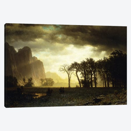 Passing Storm in Yosemite, 1865  Canvas Print #BMN5854} by Albert Bierstadt Canvas Print