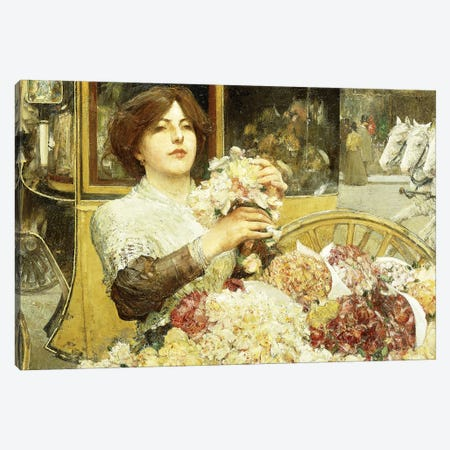 The Rose Girl,  3-Piece Canvas #BMN5858} by Childe Hassam Canvas Artwork