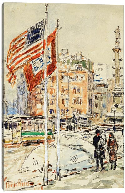 Flags, Columbus Circle, 1918  Canvas Art Print
