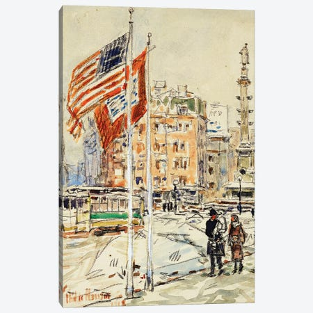 Flags, Columbus Circle, 1918  Canvas Print #BMN5861} by Childe Hassam Art Print